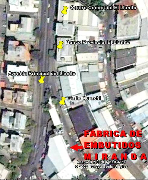 Vea nuestro Mapa de ubicacion de la Fabrica de Embutidos Miranda